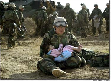 Israeli Soldiers in Lebanon in 2006--Compassion for Little Lebanese Girl.  Click to learn what we went through with rockets falling...