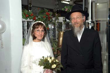 Chayim and Bracha Zaklad at their Wedding, just after Yichud.  Click to see more wedding pictures!